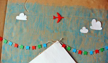 Nursery Cardboard Art: Tibetan mountain with flag garland