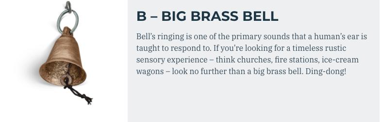 brass bell element on bus busy board
