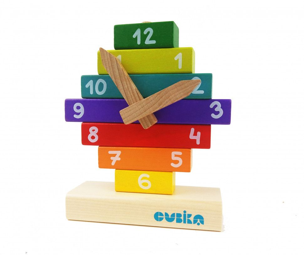 wooden clock toy stackable bright clock with magnetic hands for early development