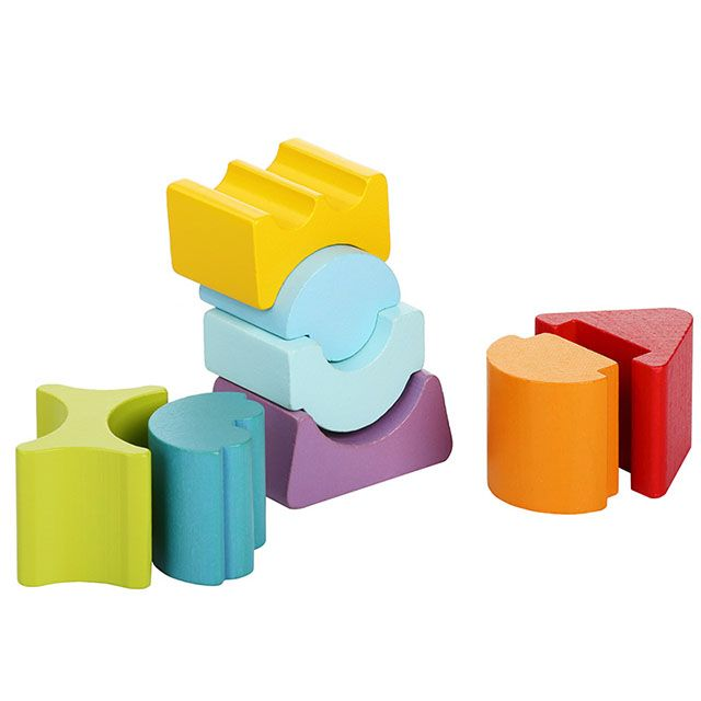 wooden stacker with shapes and colors