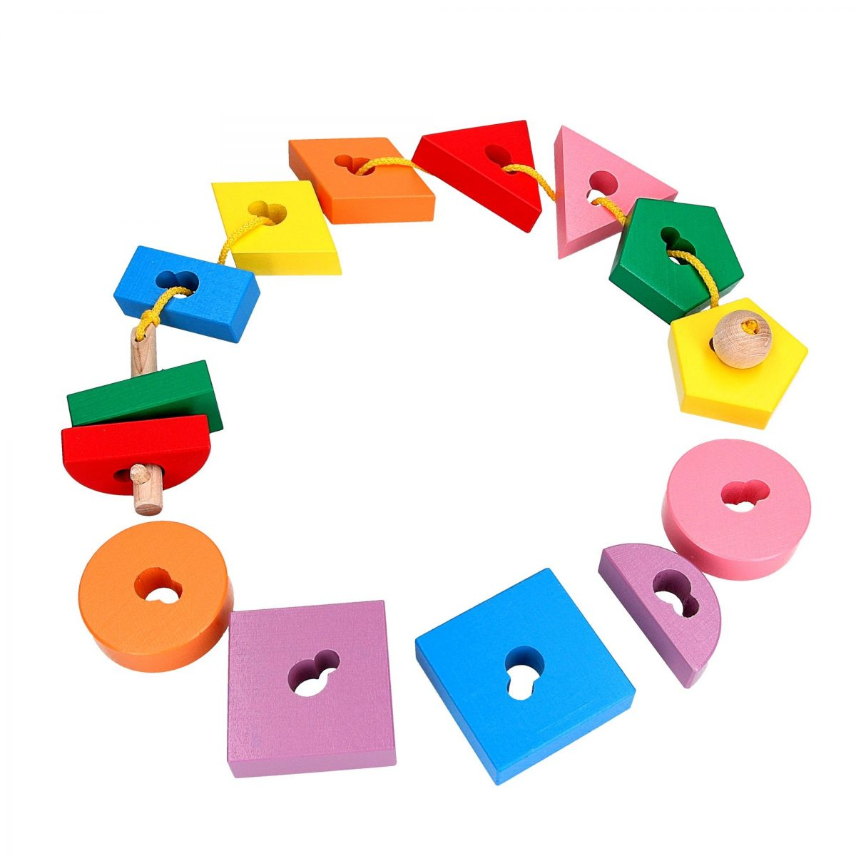 wooden lacing puzzle toy key and shapes with keyholes for the kids 2 years and older