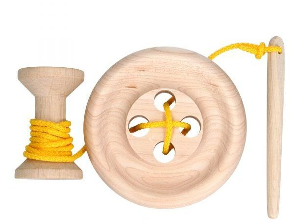 wooden lacing toy oversized button spool and needle for babies and toddlers
