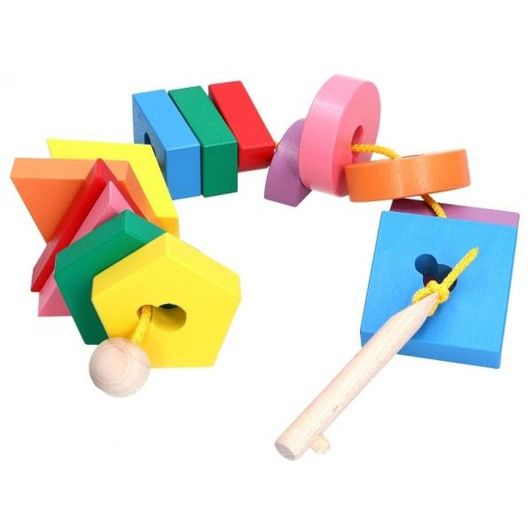 lacing puzzle wooden key and shapes with keyholes educational toy for babies and toddlers