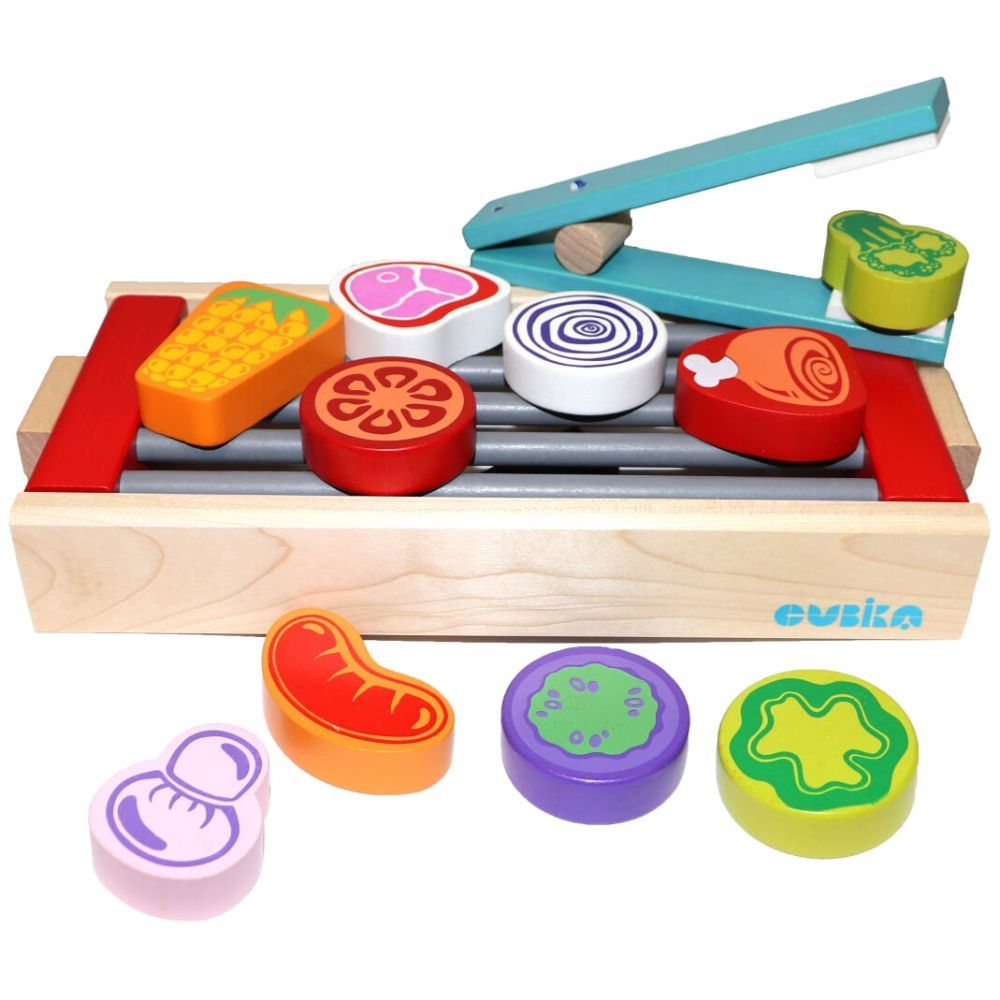 Wooden bbq toy set barbecue grill toy kitchen toy food set