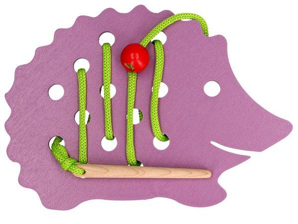 wooden hedgehog lacing toy