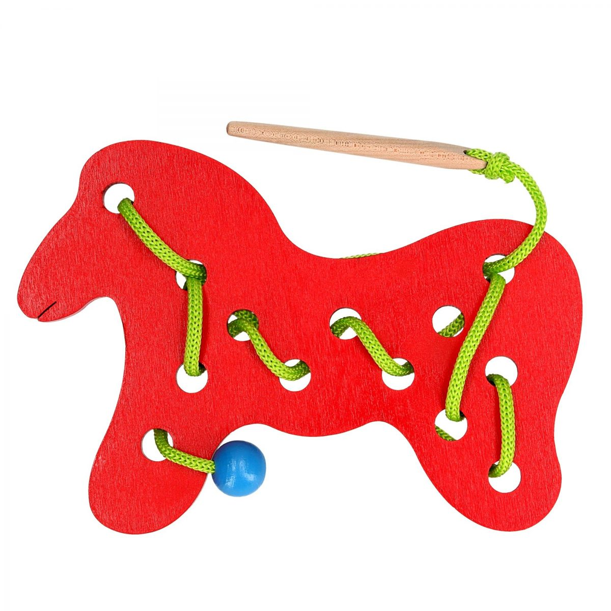 wooden horse lacing toy large size bright for babies and toddlers