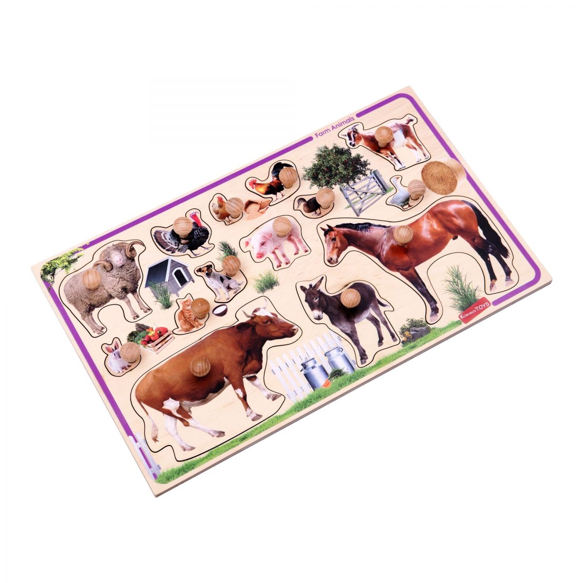 farm animals peg puzzle wooden toy for babies and toddlers