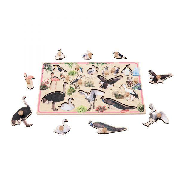 birds peg puzzle educational montessori material for babies toddlers children preschool