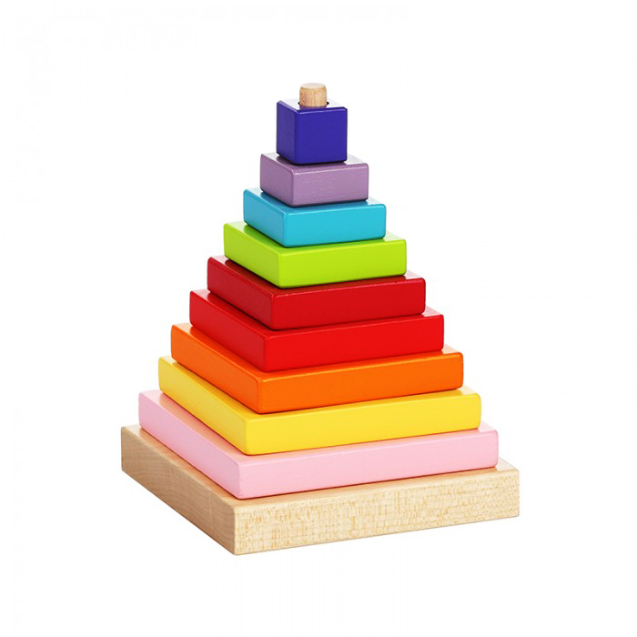 wooden square pyramid educational toys wooden pyramid eco friendly