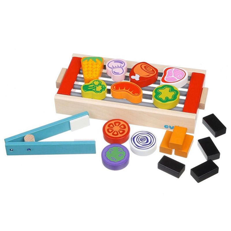 wooden BBQ toy set for babies and toddlers role play motor skills